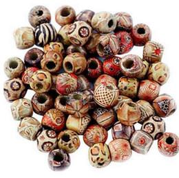 100pcs misti perline di legno perline grande foro fit braccialetto di fascino fai da te per fare gioielli 9x10mm da grandi perline blu fornitori