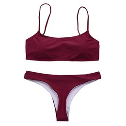Bikini de dos piezas push up padding online-Mujeres sexy Bikini Set Traje de baño Vendaje De dos piezas Push Up Acolchado Sólido Traje de baño Ropa de playa de baño