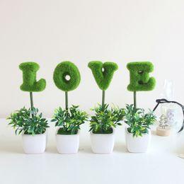 Arboles de ceramica online-HOME LOVE Letter simula Little Bonsai Green Planting Wishing Tree Ceramic Decorativo Día de San Valentín Envío gratis