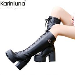 Botas de nieve mujer cool online-2019 tallas grandes 34-43 estilo de calle, zapatos de tacón alto, botas hasta la rodilla Mujer Plataforma Invierno Mujer Zapatos Snow Boot femenino