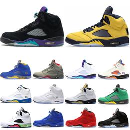 Air jordan retro 5 5s AirJordanrétro5 5s chaussures de basket ball pour les hommes TROPHÉE SALLE Camo Suede Red Mens prince frais Grape Black Trainers