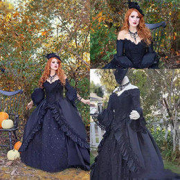 0d32bd7e83 Vintage Victorian Black Ball Gown Wedding Dresses with Long Sleeves New 2019  Retro Lace Off Shoulder Gothic Corset Bridal Gowns Plus Size
