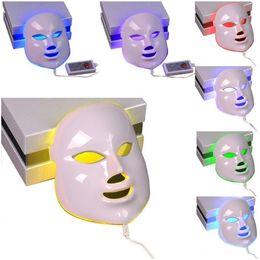 2019 máscaras faciais apertar a pele 7 Cor Luz Fóton LED Máscara Facial Elétrica Rosto Cuidados Com A Pele Rejuvenescimento Terapia Anti-envelhecimento Anti Acne Clareamento Da Pele Aperte máscaras faciais apertar a pele barato