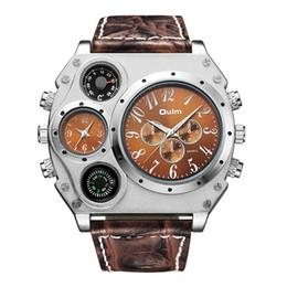 Relógios oulm on-line-Oulm único designer de marca masculino relógio esportivo vários fusos horários relógios de quartzo rosto grande relógio de pulso ocasional dos homens relógio militar