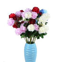 Fiesta de primavera decoración de la boda matrimonio flor falsa decoración para el hogar 3 cabeza rosa flor flores de seda artificial para el ramo de bricolaje DH0915-1 desde fabricantes