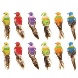 Adornos de espuma online-12pcs colorido Mini simulación Aves falso artificial Espuma modelo animal de boda en miniatura jardín de la decoración del ornamento C19041601