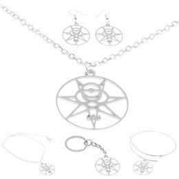 2019 okkulter schmuck Magic 666 Schmuckset Crowley Secret Seal Thelema Siegel Illuminati Occult Symbol Charm Halskette Armreif Kerying Ohrring Knöchel günstig okkulter schmuck
