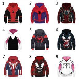 Hoodies homem aranha para crianças on-line-10 Estilo Meninos Meninas Spider-Man No Spider-Verse Hoodies 2019 Novas Crianças Homem Aranha Venom Mangas Compridas Hoodies 3D crianças roupas C5