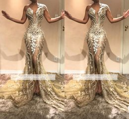 Sirena vestido de perlas de vuelta online-2019 nuevas perlas de abalorios de lujo de un hombro sirena vestidos de baile de encaje apliques frente dividida vestidos de noche vestidos de fiesta del desfile bc0614
