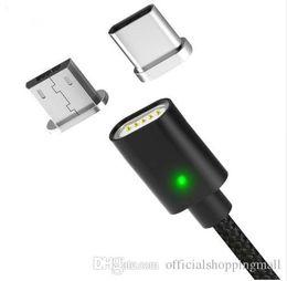 cargador de cable de datos Rebajas 1M Cable magnético de 3 pies Tipo USB Cable C Cables micro USB Trenzado de nylon Indicador LED Cable de cargador de imán de sincronización de datos para teléfonos inteligentes S9 S8