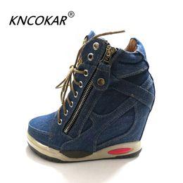 Argentina Tacones de cuña cómodos de KNCOKA Summer New Women con zapatos sencillos de lona elegantes y sencillos de mezclilla cheap denim canvas wedges shoes Suministro