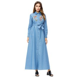 16cd3f15b0f Women floral embroidery Denim long Dress lapel long sleeve Single-breasted shirt  dress Spring 2019 maxi dresses