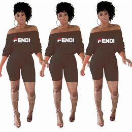 2019 linda niña rosas Mujeres F Letras Túnica Pantalones cortos 2019 Moda media manga plana Shouders Mono Mameluco Verano de moda fuera del hombro Shorts pantalones C5604
