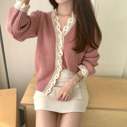 girls cardigans pearls Coupons - Chic elegant lace patchwork pearl buckle cardigan sweater mori girl 2018 autumn winter