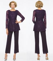 madre púrpura traje púrpura Rebajas Elegante Madre Púrpura De La Novia Trajes De Pantalón Para Bodas Dos Piezas De Encaje Manga Larga Madres Ropa Formal Traje Traje Más Tamaño SH363