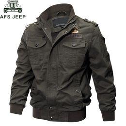 AFS JEEP Military Jacket Uomini grande formato 6XL Bomber Uomo Autunno Inverno casuale outwear giacca di cotone Volo Jaqueta Masculina LY191206