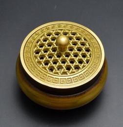 Antiquités de porcelaine en Ligne-Laiton antique bouddhisme tibétain laiton couvercle creux brûleur d'encens