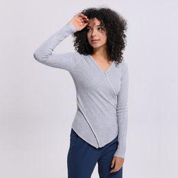 Vestes d'hiver pour femmes en Ligne-LU-56 Hiver Solide Couleur Pull Femmes Sports Chemises Yoga Gym réservoirs Fitness Tops Sexy Lady Running Veste