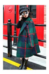 Chaquetas verdes niños online-Niñas abrigo de lana 2019 otoño e invierno nuevas niñas capa de lana en chaqueta caliente de los niños largos verdes