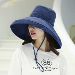 2019 koreanischen stil frauen mütze 2019 Sommer koreanischen Stil Anti-UV-Baumwolle Sommer Hut Frauen Urlaub breiter Krempe faltbare Eimer Cap Outdoor Freizeit Strand günstig koreanischen stil frauen mütze