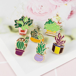 Gonna di pianta online-Green Plant Cactus Pot cartoon spilla Succulente dello smalto del metallo pulsante pin Jewelry Ornament Gonna collare distintivo Denim Bag Accessori Decor