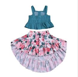 Vestido de cola de milano de las muchachas online-Ropa de diseñador para niños Vestido para niñas Niño pequeño para bebés Bebé con volantes Top + Boho Falda floral de cola de pato Traje de verano Ropa Conjunto de dos piezas