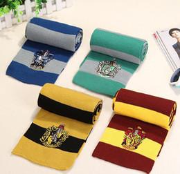 Harry potter escola lenços on-line-Harry Potter Cachecol Gryffindor Escola Unisex Listrado De Malha Cachecol Gryffindor Scarve Harry Potter Lenço Luff Hufflepuff Cosplay Crianças M203