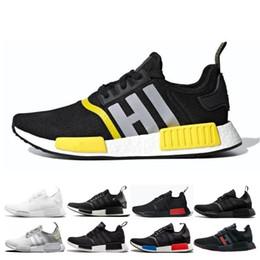 Mejores zapatillas para correr online-2019 NMD R1 Thunde Bred Primeknit zapatos para correr Clásico Triple Rojo Negro Mejor calidad Hombres Mujeres Zapatos deportivos Zapatillas de deporte de diseño Entrenadores 36-45