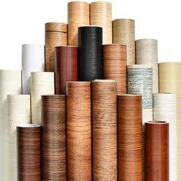 2020 büro dekor aufkleber PVC holzmaserung tapete für Küche Filme überholten kleiderschrank schranktür möbel für home office Decor wandaufkleber günstig büro dekor aufkleber