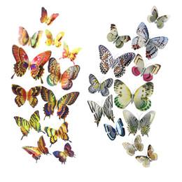 3D DIY Çocuk Odası için Kelebek Duvar Çıkartmaları Ev Dekorasyon Mıknatıs Çift Kanat Hayvan Sticker Bahçe Dekor Sanat 12 adet / takım nereden