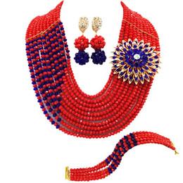 Brazalete rojo azul real online-Conjuntos de collar de cristal de compromiso clásico, rojo, azul real, africano azul para mujeres 10C-CJZ-34