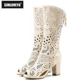 2019 bottes blanches d\u0027été Chaussures pour femmes en cuir véritable  SIMLOVEYO New Summer à