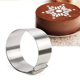Assar descartável on-line-Descartável Rodada Eco-friendly ajustável de aço inoxidável Círculo Mousse Ring 6 -12inch, Baking ferramenta para Bolo de Aniversário, Festa