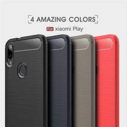 2019 empreinte de silicone Original pour Xiaomi jouer Mi8 SE A2 Lite Redmi Note 6 Pro POCO F1 6X Anti-empreintes digitales Silicone Fibre de Carbone Brossé TPU Cas de téléphone empreinte de silicone pas cher