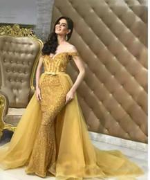 2019 vestido saia destacável saia 2018 Luxo Árabe Dubai Destacável Saia Sereia Vestidos Elegantes Fora Do Ombro Lantejoulas Frisado Custom Made Formal Pageant Vestidos vestido saia destacável saia barato