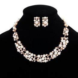 2019 24k solid gold anhänger ketten 2 Farben Womens Imitation Perle Chunky Halskette Ohrring Set - Designer Schmuck Sets Luxus Halsreifen Für Hochzeitsfest