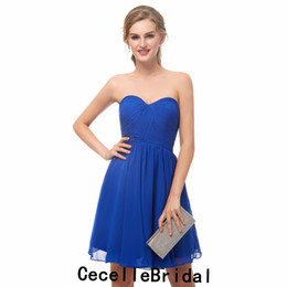 Simples Azul Royal Chiffon Curto Cocktail Dress Sweetheart Ruched Chiffo Mulheres Informais Curto Prom Vestido de Noite Vestido de Noite Barato de Fornecedores de myriam fares vestido quente