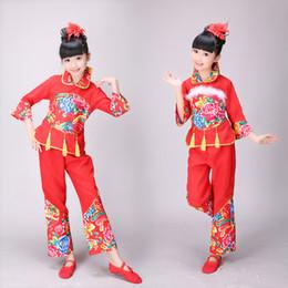 2019 chinesische taschentücher Neujahrskindertanzkostüm Chinesischer Wind Nationales Kindertaschentuch mit Tänzern günstig chinesische taschentücher