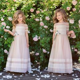 primera comunion vestidos Sconti Sweety Lace Flower Girl Dresses In Stock Princess vestidos para primera comunion Toddler Toddler First Comunione Abiti abiti per niña
