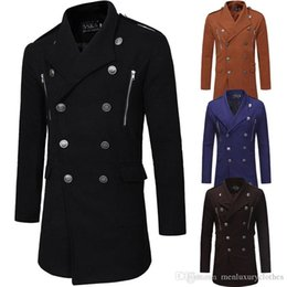 Mens wollgraben online-Mens Designer Zweireiher Wollmischungen Trench Long Revers Neck Pockets Zipper Design Mäntel
