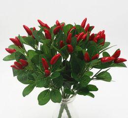 Растения красного перца онлайн-Искусственный Маленький Чили Букет Искусственный Красный Перец Поддельные Организовать Цветы Завод Дисплей