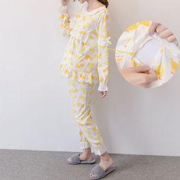 80fde3ec6f9f0 2019 Cotton Nursing Pregnant Nightgowns Long Sleeve Maternity Breastfeeding  Sleepwear Set for Pregnancy Woman Pajamas suit