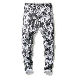 ноги для похудения бедра Скидка Новые Мужские 3D Цифровые Печатные Белые джинсы Модельер Прямая Нога Slim Fit Джинсовые Брюки Хип-Хоп Дешевые Брюки Большой Размер 5640