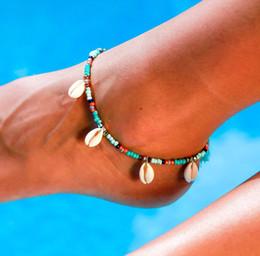 2019 женская нога цепь Bohemia Boho Shell Beach Foot Chain Раковина Кисточкой Бусины Цепь Сандалии Ножные Браслеты Бусины Браслет Ювелирные Изделия Для Женщин Леди дешево женская нога цепь