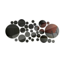 Cercles de mur 3d en Ligne-3D Art acrylique Cercle De Miroir DIY Decal De Vinyle Mural Home Room Decor Wall Sticker