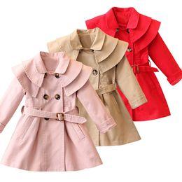Giacche invernali per bambini online-New Girls Jacket Trench Coat Dress Girl Child Kids Hoodie Girl Indossa cappotti invernali tagliati nel cappuccio antipolvere