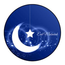 2019 estrela da lua azul Área de Círculo de Decoração para casa com Estrela e Lua Projeto Ramadan Tapetes Redondos Tapete Tapete de Porta Tapete de Casa Tapete de Moda Delicada # M4Y desconto estrela da lua azul