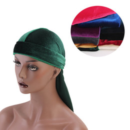hair fall protection Promo Codes - Unisex Men Women Breathable Bandana Velvet Turban Hat Durag do doo du rag Headwear Headscarf long tail headwrap Cap Hair Accessories