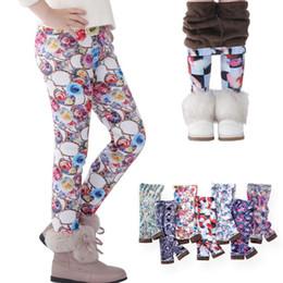 Pantalon bébé pantalon crayon en Ligne-Automne Hiver Enfants Filles Legging Bébé Coton Chaud Crayon Pantalon Pour Enfants Fleur Imprimé Épaississement Pantalon Velvet Leggings GGA2649