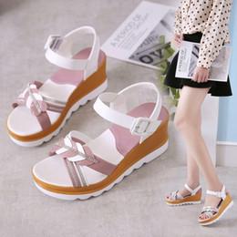 scarpe da sci estate Sconti Slope and Sandal Girl Summer 2019 nuovi tacchi alti con tacco alto scarpe da studente versione coreana di un centinaio di fibbie sandali femminili